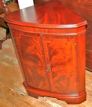 Gorgeous English Antique Mahogany Corner Cabinet photo