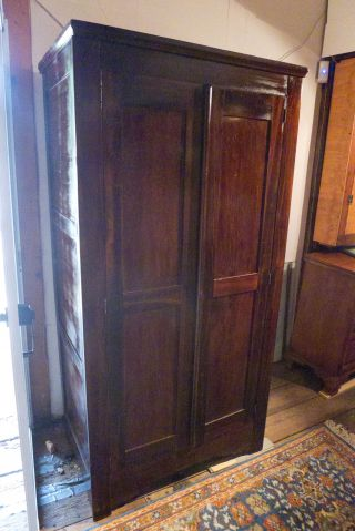 Cedar Armoir Wardrobe Antique Mahogany Panelled 73x36x23.  5d Country C.  1910 Fine photo
