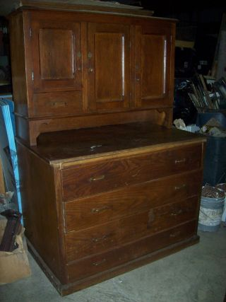 Antique Oak Cabinets With 4 Drawer Base photo