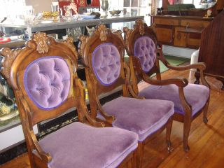 Antique Victorian Arm Chair & Two Parlor Chairs (3) Chairs Total photo