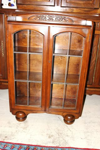 Exquisite English Antique Oak Art Deco Oak Bookcase photo