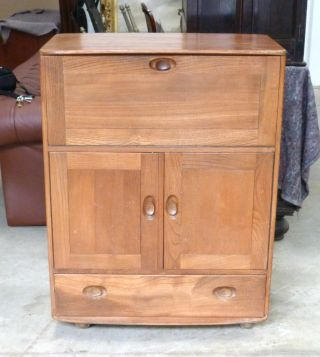 Ercol Elm Vintage Retro Drop Front Desk Cabinet photo