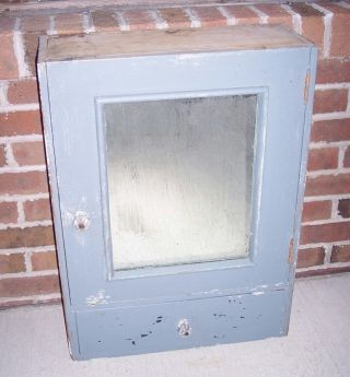 Antique Vintage Hanging Medicine Cabinet Mirror Cupboard Primitive Blue/gray photo