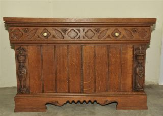 French Gothic Server In Oak Carved Statues photo