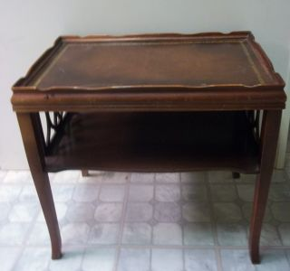 Mahogany Leather Top Living Room Side Table Maybe Doezema Fine Furniture photo