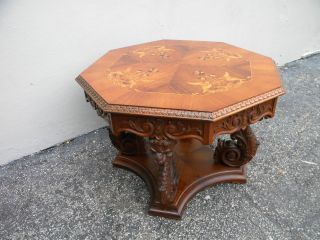 Victorian Heavy Carved Inlaid Side Table 2382 photo