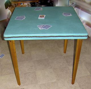 Vintage Stakmore Folding Table With Turquoise Vinyle Top Between 1930 & 1949 photo