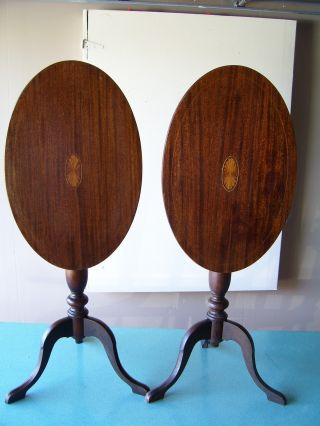 Mid Century Peter Engel Inlaid Mahogany New York Retro Furinture Tilt Top Tables photo