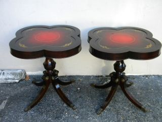 Pair Of Louis Scalera Mahogany Leather Top Side Tables 1120 photo