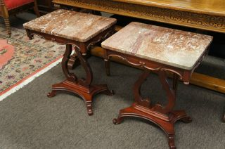 Marble Top Mahogany Side Tables Night Stands Pair Set Matching Antique Ships photo