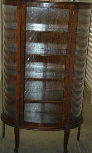 Antique Oak Curved Glass China Cabinet,  60