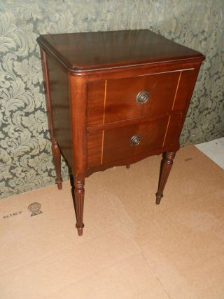 Wonderful Antique Sewing Stand W/rotating Spool Drawer And Marquetry Detail photo