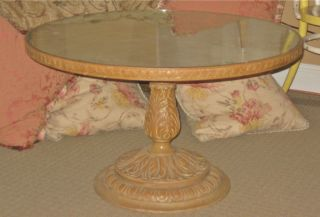 Vtg Shabby Romantic Round,  Wood/wooden/glass Coffee/end/side Table Pedestal photo
