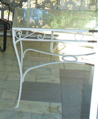 Antique Wrought Iron Patio Table Garden Decor Glass Top photo