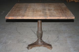 Reclaimed Antique Oak Cafe Or Dining Table With Antique Cast Iron Base photo