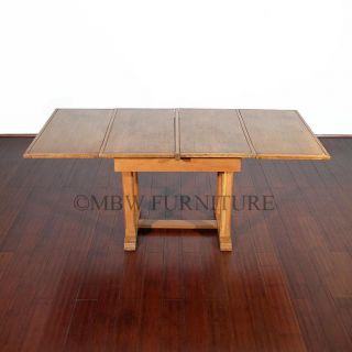Antique English Golden Oak Art Deco 6ft Drawleaf Pub Dining Table C1930 P20b photo