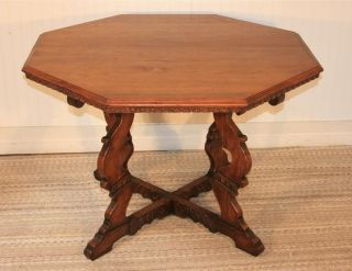 Antique Carved Walnut Octagonal Center Table Jacobean Style Mission Arts & Craft photo