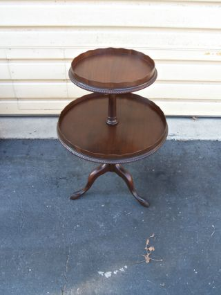 49445 Antiique Mahogany Lamp Table Stand photo