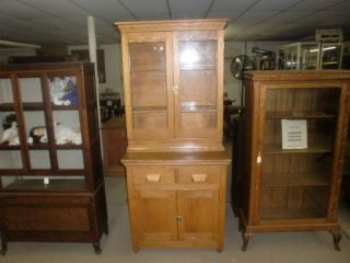 Oak Stepback Cupboard 2 Pc Glass Doors photo