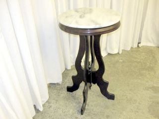 Antique Victorian Marble Top Side Lamp Table Mahogany photo