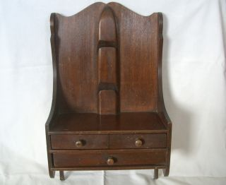 Small,  Antique,  C1900,  Mahogany Hanging Shelf,  Drawers photo