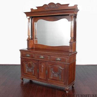 Antique English Solid Walnut Mirror Back Buffet Sideboard Server C1900 T37 photo