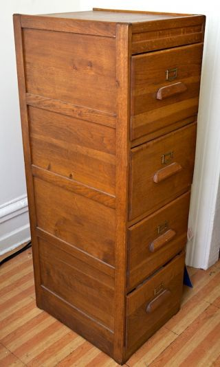 Antique Solid Oak 4 Drawer Filing Cabinet Circa photo