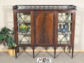 Antique English Flame Mahogany Curio Display Cabinet W/ Bookcase C1920 K30 photo