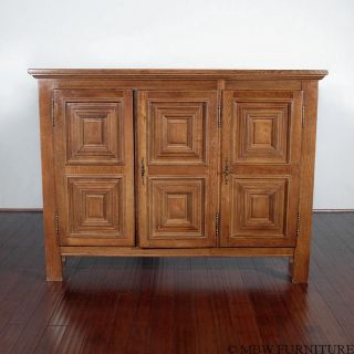 Vintage Oak Dutch Buffet Sideboard Server Cabinet photo