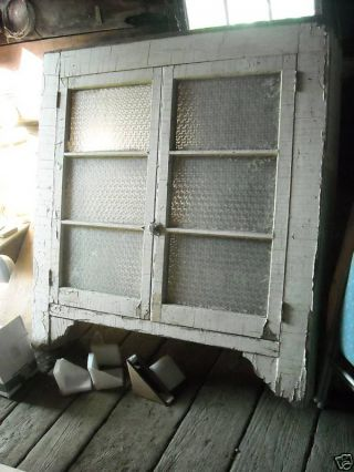 Old Antique Primitive Shabby Hanging Cupboard Chippy photo