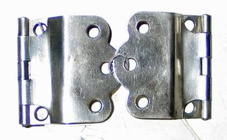 Two Nickel Plated Hinges - Kitchen Queen On Tag 15 photo