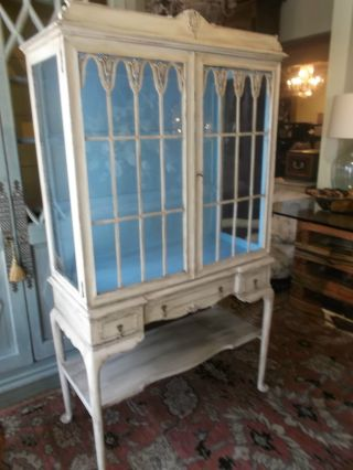 Antique Hand Painted French Style Display Cabinet. photo
