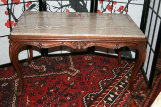 Vintage Wood Carved Marble Top Coffee Table Victorian Style Vander Ley Bros.  Co photo