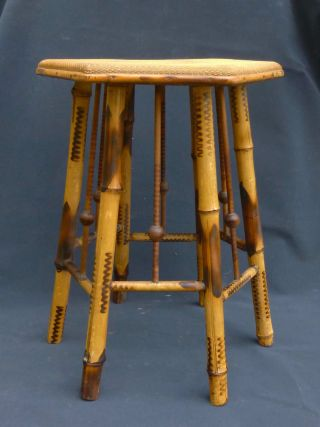 Antq Victorian Ball & Stick Tortoise Shell Bamboo Plant Stand Taboret Table 1900 photo
