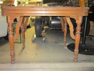 Antique Solid Wood Dinning Table With 2 Leafs photo