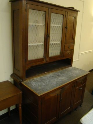 Antique Solid Oak Kitchen Cabinet - The John Koontz Furniture Co In Union City,  In photo