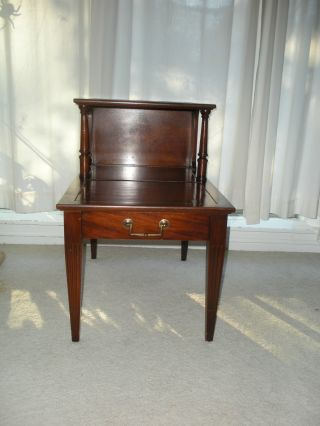 Antique Mahogany Table Set.  4 Pieces Leather Top. . photo