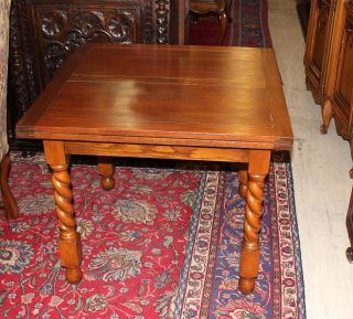 English Antique Barley Twist Draw Leaf Table.  Made From Oak. photo