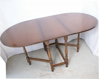 Antique English Oval Drop Leaf Table 15