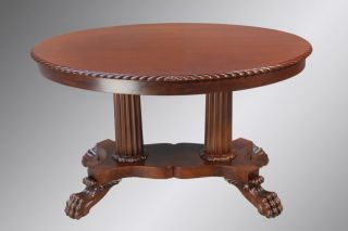 15887 Antique Oval Mahogany Claw Foot Carved Library Table photo