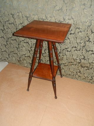 Wonderful Antique Victorian Plant Stand W/turned Legs photo