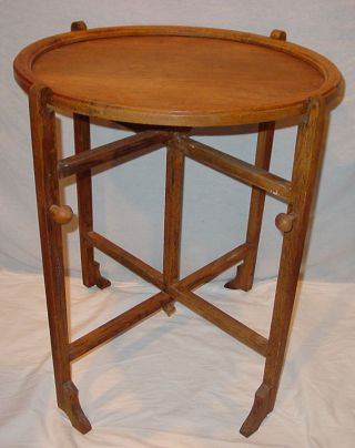 Antique Revertable Round Walnut Stained Oak 4 In1 Table - Game Lamp Tray Screen photo