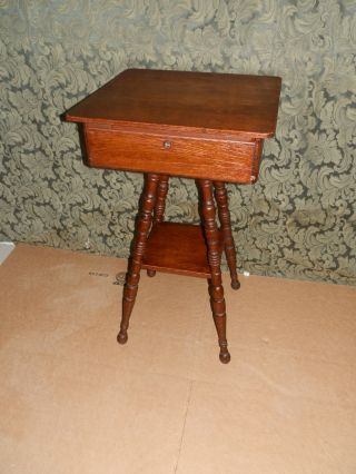 Wonderful Antique Victorian Sewing Stand W/turned Legs And Flip Top photo
