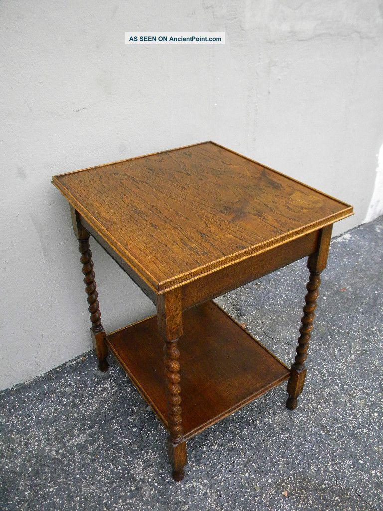 Victorian Tiger Oak Spindle Leg Side Table 1237