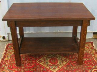 Arts & Crafts Mission Oak Library Table - Through Mortise & Tenons photo