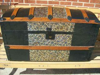 Antique (small) Dome Top Trunk W/tray photo