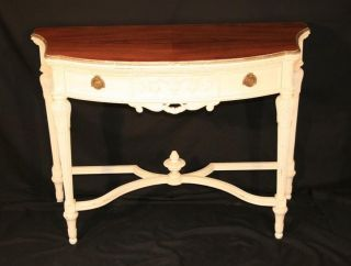 Wonderful Antique Chic Country French Shabby Painted Demilune Console Hall  Table Photo