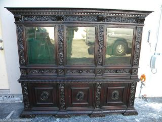 German Hand Made & Carved Mahogany Break Front Cabinet photo