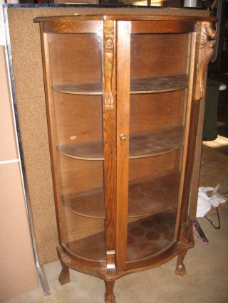 Antique Bent Glass China Cabinet photo