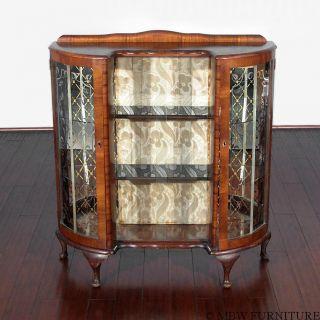 Antique English Burl Walnut Queen Anne Curio Display Showcase Cabinet Bcur photo